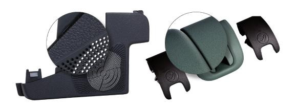 The newly developed ASA/PA compounds allow components to be produced in the injection molding process for longer periods of time than was previously the case and without the formation of deposits in the tools: They are used, for example, in loudspeaker grilles or child car seats.