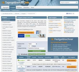 Festgeld-Angebot im Überblick auf Tagesgeldrechner.info