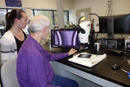 Chemikerin Jacqueline Schwark (links) und Dr. Paul Hochgesang, Material Research Fellow, untersuchen die Oberflächen von Dichtungen, die aus dem neuen Material gefertigt wurden, auf Unregelmäßigkeiten.