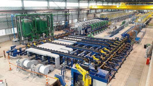 The new AQTF by SMS group at TimkenSteel has the capacity for 50,000 process-tons annually of 4-inch to 13-inch bars and tubes for the automotive, industrial and oil and gas industries
