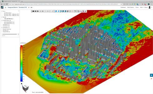 Windanalyse des Gangnam Stadtbezirks von Seoul (Süd-Korea), durchgeführt in einem Web-Browser mit SimScale gemäß der Koreanischen Bauordnung von 2016, transiente Analyse mit Pacefish® beschleunigt durch 8 GPUs auf Grundlage des weit verbreiteten k-omega SST Turbulenzmodells bei einer Rechengitterkomplexität von über 300 Millionen Simulationszellen, Simulation von 200s Echtzeit innerhalb von nur 2 Stunden.