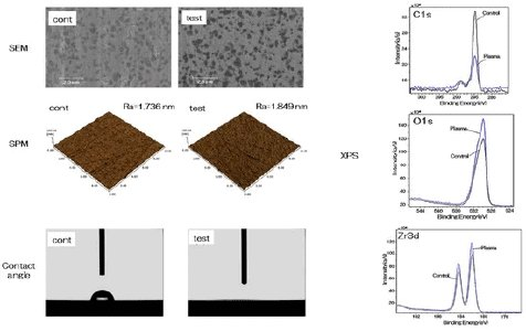 Figure 1. SEM and SPM measurements did not reveal any changes in surface structure and roughness due to the plasma treatment. In contrast, the water contact angle decreases from 63° to 0°. XPS measurements show that the carbon content on the surface decreases, while the oxygen and zirconium content increases.