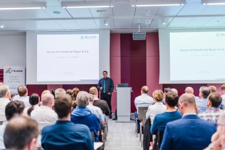 IIT 2018 München: Zoran Raic, Leiter Konstruktion, zeigte, wie InLoox beim Weltmarktführer für Rundstrickmaschinen Mayer & Cie. eingesetzt wird.