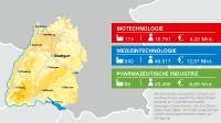 Der steuerbare Umsatz und die Beschäftigten der Gesundheitsindustrie in Baden-Württemberg wurden vom Statistischen Landesamt Baden-Württemberg auf Basis der BIOPRO Datenbank ermittelt, sofern diese Daten zum Zeitpunkt der Abfrage von den Unternehmen übermittelt wurden, und beziehen sich auf das Jahr 2016. Die Unternehmensdatenbank der BIOPRO listet 174 Biotechnologie-Unternehmen, 840 Medizintechnik-Unternehmen und 86 Unternehmen der Pharmazeutischen Industrie, die am Standort forschen, entwickeln und/oder produzieren (Stand 7/2018). Für 135 der Biotechnologie-Unternehmen, 799 der Medizintechnik-Unternehmen und 83 der Pharmazeutischen Unternehmen konnte das Statistische Landesamt Baden-Württemberg die Kennzahlen ermitteln. / © BIOPRO Baden-Württemberg GmbH