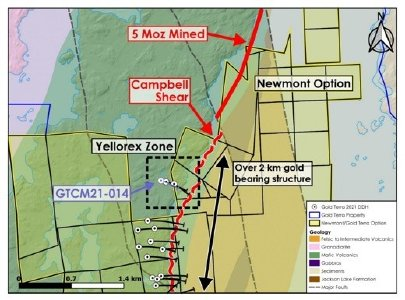 Figure 1: Phase 2 drilling at Yellorex Zone and location of hole GTCM21 -14.