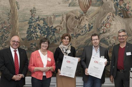 Bürgermeister Reinhard Limbach, Moderatorin Gisela Hein, Manuela Gilgen, Andreas Klotz und Michael Pieck (IHK / CSR-Kompetenzzentrum), von links