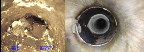 Innenrohre eines Abgaswärmetauschers vor und nach der Reinigung