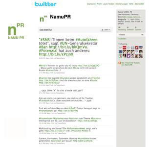 Namu-PR ab sofort auf Twitter und Facebook