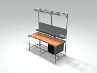 Auf der LogiMAT präsentiert NeoLog flexible Rohrklemmsysteme der beiden etablierten Rohrdurchmesser 28 und 28,6 mm – zum Beispiel für einen Arbeitsplatz (Bild: NeoLog )