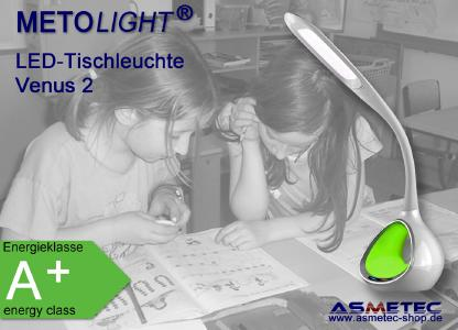 Metolight LED-Tischleuchte Venus 2 - umweltfreundliche LED-Schreibtisch-Leuchte mit sanftem Licht - kinderleichte Touch-Bedienung