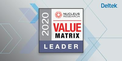 """Bei Deltek sind wir stolz darauf, dass wir Mehrwert für unsere Kunden schaffen. Deshalb freuen wir uns besonders, dass wir im Juni 2020 in der ERP Technology Value Matrix von Nucleus Research als erste Wahl für """"projektorientiertes ERP"""" und als führender Anbieter von Softwarelösungen für projektorientierte Unternehmen bewertet wurden."""