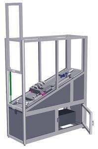 Dieses Demonstrationsgerät von ACE zeigt neue Wege der aktiven Stoßdämpfung auf und ist mit verschiedenen Bremselementen ausgestattet