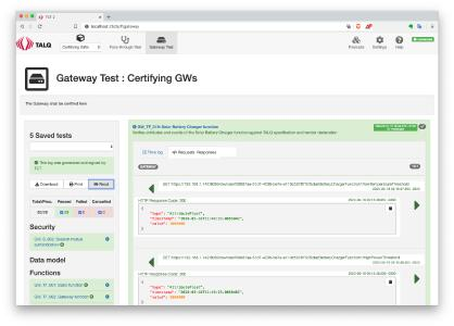 TALQ Certification Test Tool Screenshot