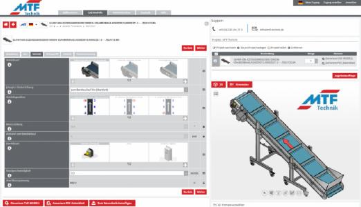With the CADENAS solution, MTF Technik offers customers an efficient tool for the configuration of conveyor belts