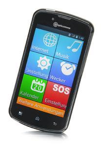 Das Smartphone PowerTel M9000 lässt sich auf Wunsch von der normalen Android Bedienoberfläche auf die Komfort-Bedienoberfläche mit extra großer Darstellung umstellen