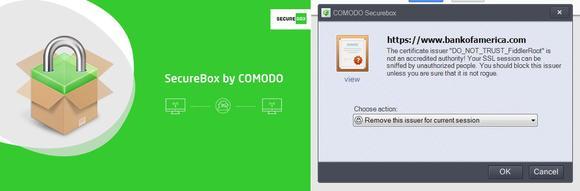 Logo und Screenshot der Comodo SecureBox