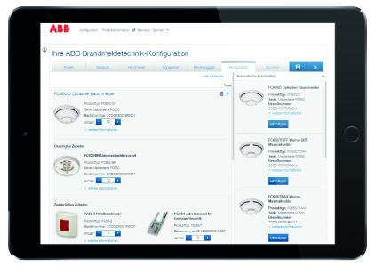 Der einzigartige und benutzerfreundliche ABB-Brandmeldetechnik-Konfigurator lässt sich auf mobilen Endge-räten und auf Computern nutzen / Quelle: ABB