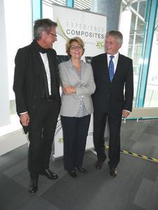 Gerhard Reiter, Messe Augsburg, Frederique Mutel, JEC Group Paris und Prof. Dr. Hubert Jäger, Vorstandsvorsitzender des Carbon Composites e.V.
