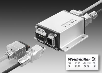 Weidmüller's 'FreeCon Active Repeater': PROFINET POF Repeater for diagnosing light signals. The device determines precisely when the attenuation has reached a critical point and a cable set needs to be replaced. Detail: LEDs clearly indicate an alarm event when tolerances are exceeded