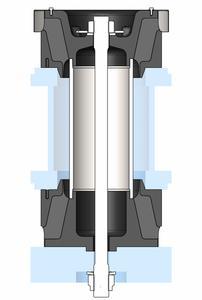 Für den Einsatz als Baggerdrehkranzlagerung werden zwei einzelne Lagerelemente über eine Stange gegeneinander verspannt ( Foto: ContiTech)