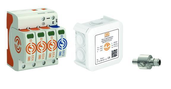 Das Aktionspaket im Überblick: V20-Ableiter (links), Tele Defender (mittig), Datenleitungsschutzgerät DS-F M/W (rechts)