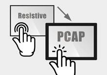 Upgrade durch PCAP Projected Capacitive Touchscreen von resistiven Touches