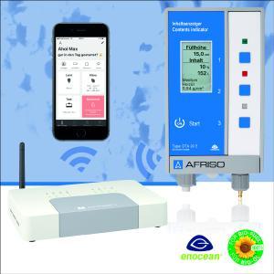 Der neue Tankinhaltsanzeiger DTA 20 E von AFRISO verfügt über ein EnOcean Funkmodul, das die Messergebnisse an ein AFRISOhome Gateway (Smart Home Zentrale) sendet. Wer auf seinem Smartphone die kostenlose AFRISOhome App aufgespielt hat, wird dann beispielsweise bei Unterschreitung eines Minimalfüllstandes auch ohne geöffnete App mittels einer Push-Benachrichtigung informiert / Foto: AFRISO