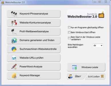 WebsiteBooster 2.0 - Oberfläche