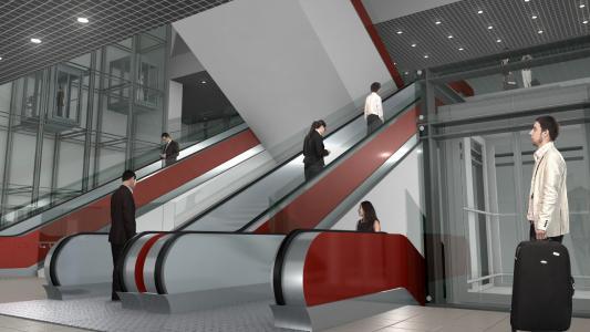 Visualisierung VE 30: Mit zahlreichen Rolltreppen sind die Ebenen der neuen unterirdischen Station am Münchner Hauptbahnhof schnell und bequem erreichbar, Quelle: Deutsche Bahn AG / Fritz Stoiber Productions