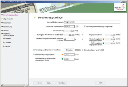 ScreenShot PVSOL 5.5 Wirtschaftlichkeitsberechnung