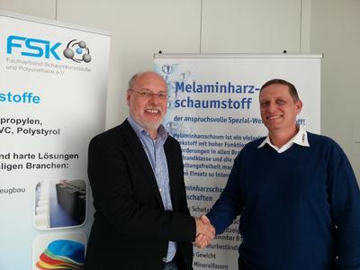 Für zwei Jahre neu gewählt: Die Sprecher des FSK-Arbeitskreises Melaminharzschaum, Johannes Hysky, stellvertretender Vorsitzender, pinta elements GmbH (l.) und Harry Leichmann, Vorsitzender, Bosig GmbH (r.)