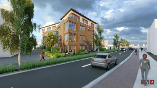 In Meppen entsteht ein gemeinsamen Bürohauses der mg architekturgesellschaft mbh und der codia Software GmbH / Bild: mga