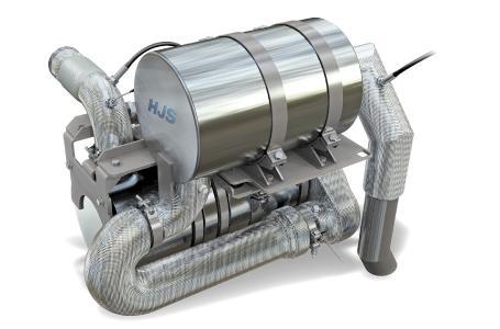 Das SCRT- System von HJS reduziert neben den Rußpartikeln auch Stickoxid-Schadstoffe nahezu völlig aus den Dieselabgasen.