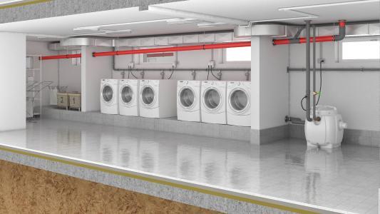 Einbaubeispiel Hebefix 200 für die Schmutzwasserentsorgung einer Waschküche / Foto: Pentair Jung Pumpen, Steinhagen