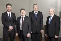 Von links: Pascal Forrer (Global Sales and Marketing Director), Richard Weber (Präsident und CEO), Stefan Weber (Vize Präsident) und Urs Stephan (Leiter Finanzen und Personal).