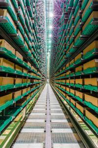 Im viergassigen AKL sind 60.000 Stellplätze integriert. In den zum Teil vielfach unterteilten Kartons werden 97.000 verschiedene Artikel gelagert. Foto: Firefly Photography