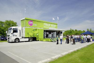 er neue REHAU Truck tourt durch verschiedene europäische Städte und gibt den Besuchern einen guten Überblick über die Möglichkeiten der umweltfreundlichen Energieversorgung eines Gebäudes