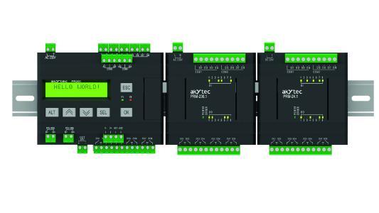 Bis zu zwei PRM-Erweiterungsmodule können an die Kleinsteuerung PR200 von akYtec angeschlossen werden