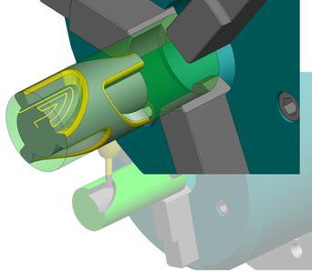 Radiuskorrektur bei der Mantelflächenbearbeitung! Bei Richtungswechsel wird der Korrekturschalter automatisch richtig gesetzt