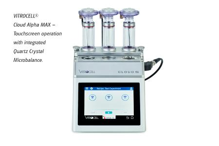 VITROCELL Cloud Alpha MAX - Touchscreen operation with integrated Quartz Crystal Microbalance.