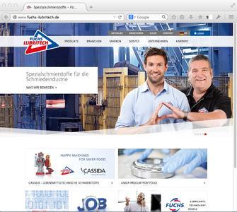 Nach dem Relaunch: Neue Startseite www.fuchs-lubritech.de