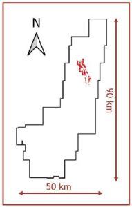 Abbildung 1. Draufsicht auf das Zielgebiet Tiria-Shimpia mit seiner zentralen Lage im Konzessionsgebiet Lost Cities - Cutucu. Fußabdruck von Silber im Boden gezeigt