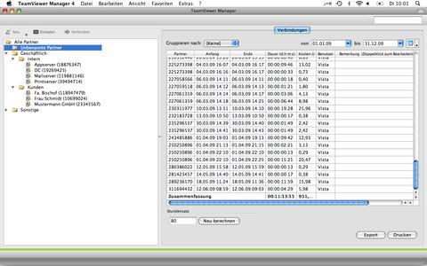 Screenshot TeamViewer Manager für den Mac_Abrechnung