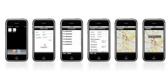 Die innovative Dispatching-Lösung IDM bietet eine Anbindung an Onboard-Computer – in diesem Fall iPhone , © Implico
