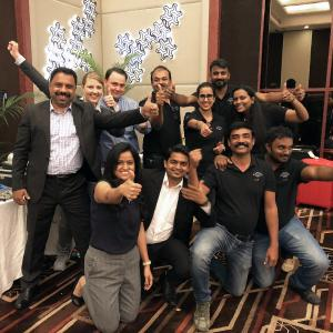 The team of W&H India and Planmeca India were giving closer insights into efficient product solutions. From left back row: Raghavan Radhakrishnan, General Manager, Anna Kluth, Account Manager, Pontus Degelund, CAD/CAM Solutions Manager and Team Planmeca India and W&H India / Photo: @ W&H/Planmeca