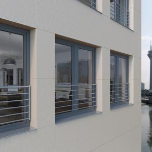 Die Schüco Absturzsicherungen werden am Fensterprofil montiert – eine perfekte Verbindung von Ästhetik und Sicherheit / Bildnachweis: Schüco Polymer Technologies KG