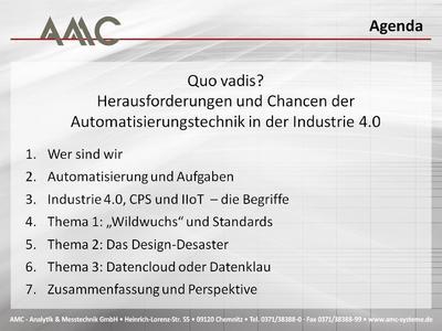 """AMC-Vortrags-Agenda zum """"1. Sächsischen Tag der Automation"""""""