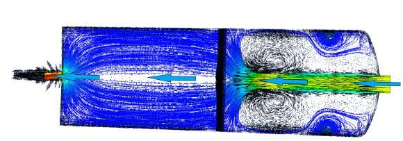 Simulation der Strömungsverhältnisse im Schichtspeicher: Vermeidung von Verwirbelungen durch speziell ausgelegten Gleichrichter / Grafik: Ehrler Prüftechnik Engineering GmbH