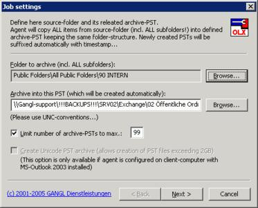 Postfach-Archivierung in Persönliche Ordner