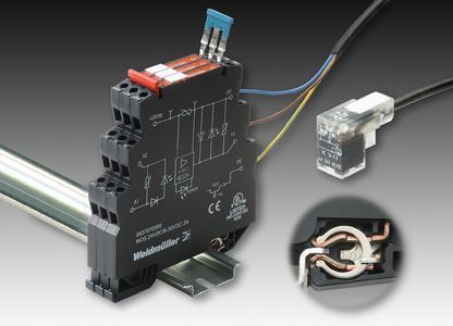 Weidmüller Solid-State Relais MICROOPTO ACTOR: Schaltverstärker für induktive Lasten bis 24 V DC und 2A. Detail: Der PE-Schutzleiter-Anschluss erfolgt schraubenlos durch Aufrasten auf die geerdete Tragschiene
